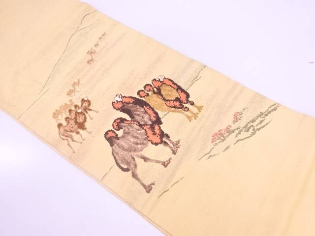 【IDnet】 龍村平蔵製 絹の道模様織出し紬本袋帯【リサイクル】【中古】【着】