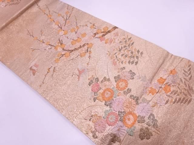 【IDnet】 枝梅に菊・鶴模様織出し袋帯【リサイクル】【中古】【着】