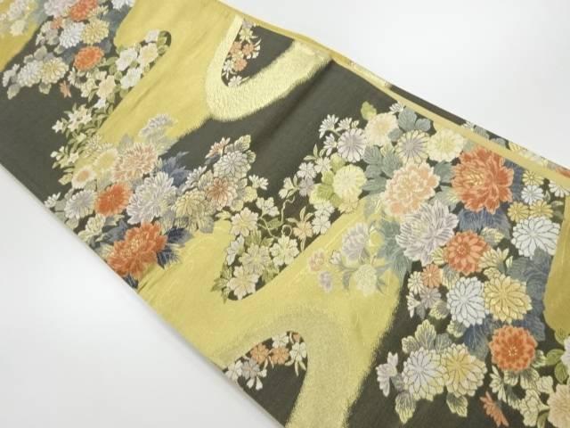 【IDnet】 金糸牡丹に菊模様織り出し袋帯【リサイクル】【中古】【着】