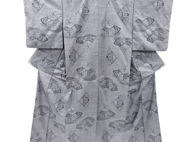 【IDnet】 扇模様織り出し本場泥大島紬着物アンサンブル(9マルキ)【リサイクル】【中古】【着】