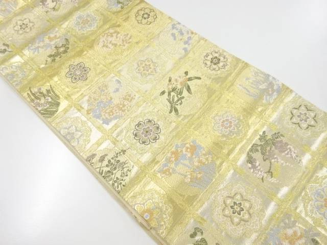 【IDnet】 格天井に華紋草花模様織り出し袋帯【リサイクル】【中古】【着】