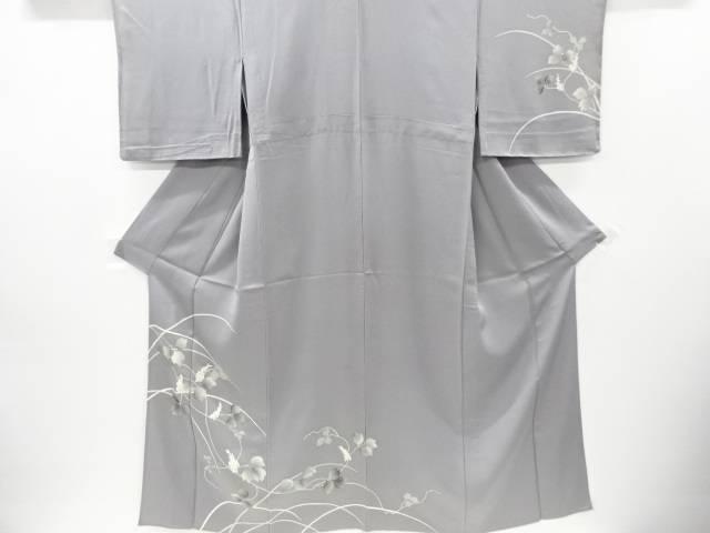 【IDnet】 芝草に枝花模様刺繍単衣訪問着【リサイクル】【中古】【着】
