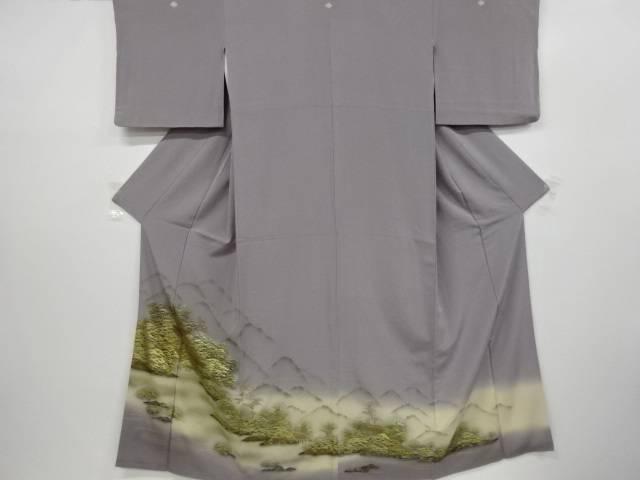 【IDnet】 作家物 金彩手描き森林風景模様三つ紋色留袖【リサイクル】【中古】【着】
