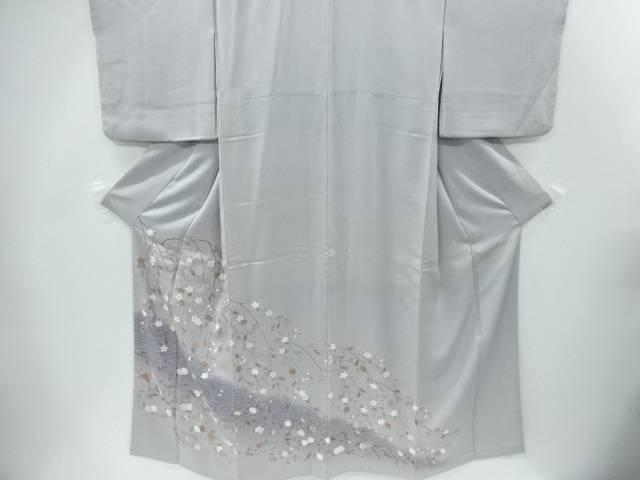 【IDnet】 流水に菊・枝垂れ花模様刺繍一つ紋色留袖(比翼付き)【リサイクル】【中古】【着】