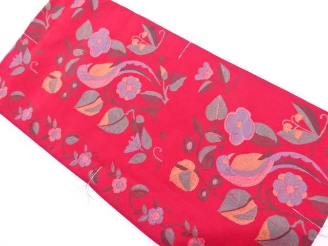 【IDnet】 未使用品 花鳥模様織出し洒落袋帯【リサイクル】【着】
