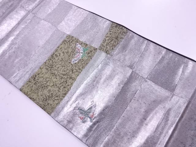 【IDnet】 未使用品 青銅箔変わり市松に蝶模様織出し袋帯【リサイクル】【着】