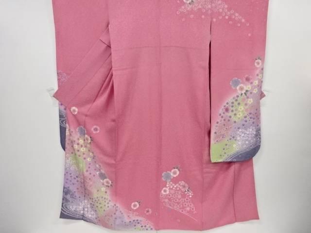 【IDnet】 銀通し流水に桜・楓模様刺繍振袖・長襦袢・袋帯セット【リサイクル】【中古】【着】