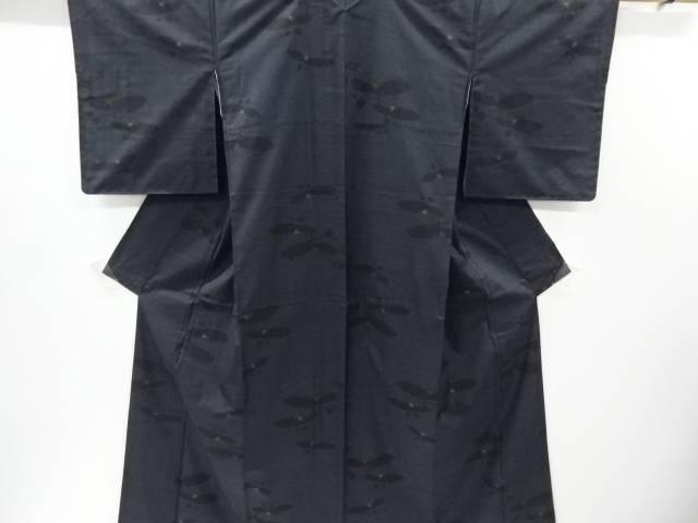 【IDnet】 抽象椿模様織り出し本場泥大島紬着物【リサイクル】【中古】【着】
