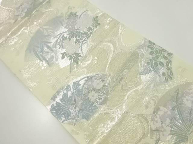【IDnet】 絽地紙に牡丹・菖蒲模様織り出し袋帯【リサイクル】【中古】【着】