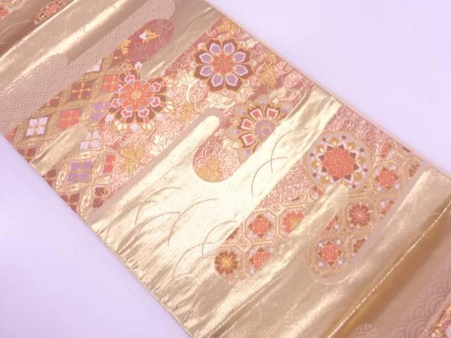 【IDnet】 ヱ霞に華紋・古典柄模様織出し袋帯【リサイクル】【中古】【着】