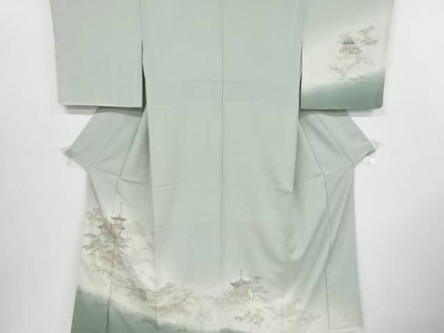 【IDnet】 汕頭蘇州刺繍寺院に松竹梅・椿・楓模様一つ紋訪問着【リサイクル】【中古】【着】
