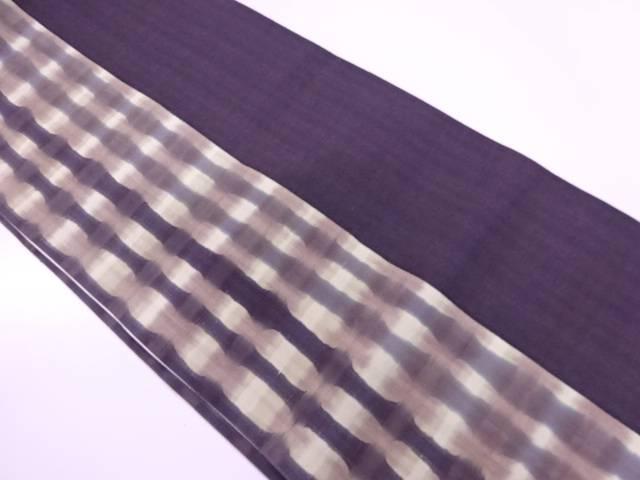 【IDnet】 手織り紬変わり格子模様リバーシブル全通袋帯【リサイクル】【中古】【着】
