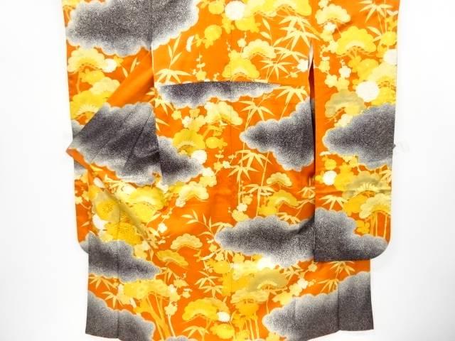 【IDnet】 金彩雲に松竹梅模様刺繍振袖・長襦袢・袋帯セット【リサイクル】【中古】【着】