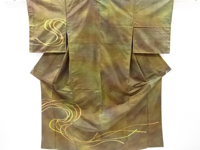 【IDnet】 組紐模様織り出し手織り節紬着物【リサイクル】【中古】【着】