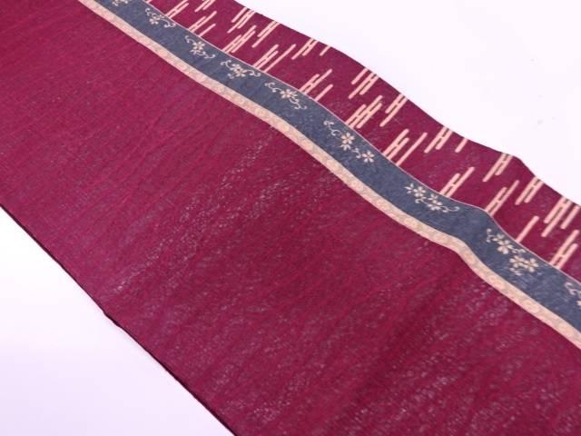 【IDnet】 すくい織縞にヱ霞・桜模様全通夏用袋帯【リサイクル】【中古】【着】