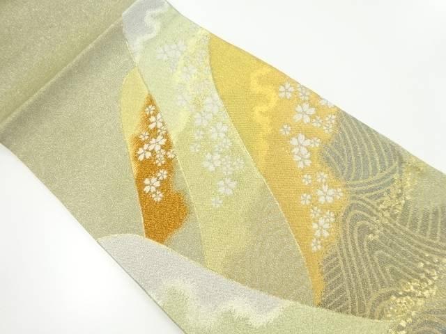 【IDnet】 純金箔遠山に桜模様織り出し袋帯【リサイクル】【中古】【着】