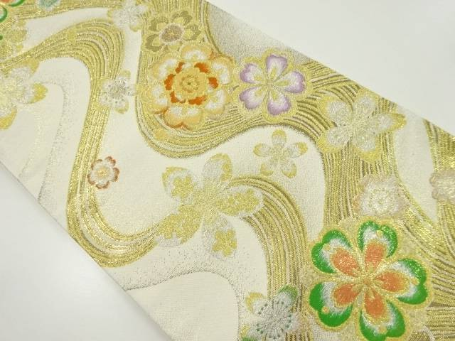 【IDnet】 金銀糸流水に桜模様織り出し袋帯【リサイクル】【中古】【着】
