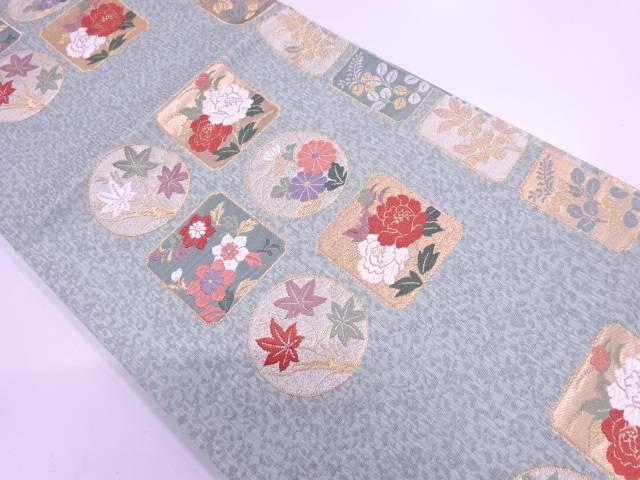 【IDnet】 色紙に花模様織出し袋帯【リサイクル】【中古】【着】