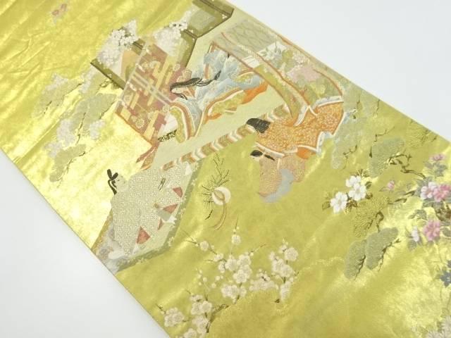 【IDnet】 本金王朝物語模様織り出し袋帯【リサイクル】【中古】【着】