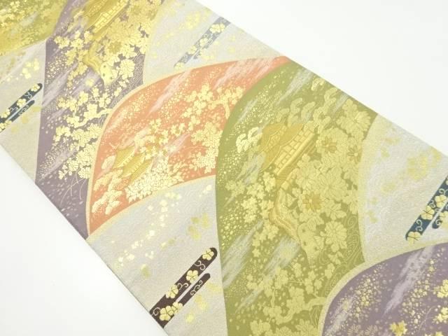 【IDnet】 金糸遠山に松・菊・寺院模様織り出し袋帯【リサイクル】【中古】【着】
