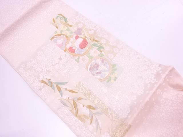 【IDnet】 山口美術織物製 桜花短冊文織出し袋帯【リサイクル】【中古】【着】