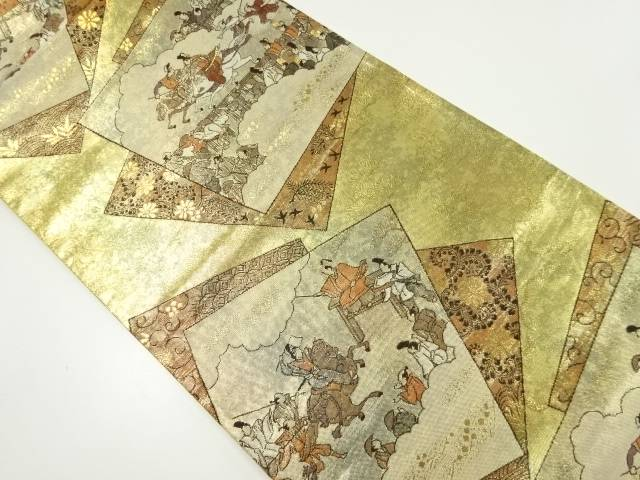 【IDnet】 本金色紙に時代人物模様織り出し袋帯【リサイクル】【中古】【着】