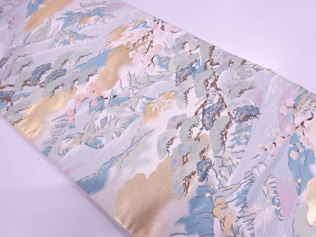 【IDnet】 川に松竹梅模様織出し袋帯【リサイクル】【中古】【着】