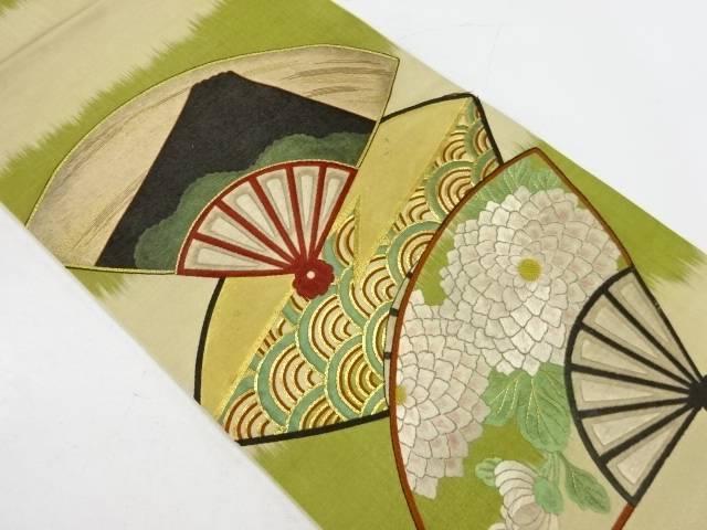【IDnet】 扇に菊・富士模様刺繍袋帯(着用可)【アンティーク】【中古】【着】
