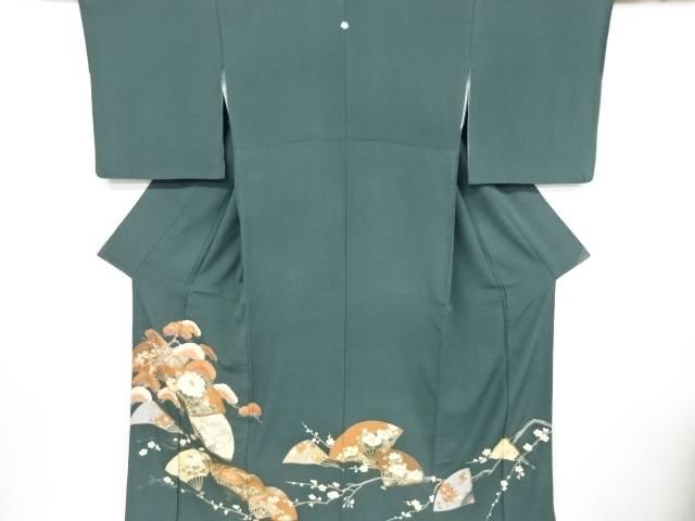 【IDnet】 扇面に松竹梅・牡丹模様刺繍一ツ紋色留袖【リサイクル】【中古】【着】