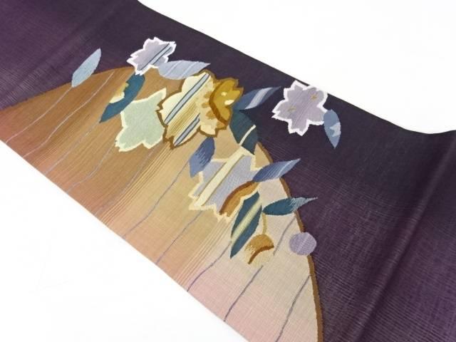 【IDnet】 すくい織桜模様織出しぼかしリバーシブル袋帯【リサイクル】【中古】【着】