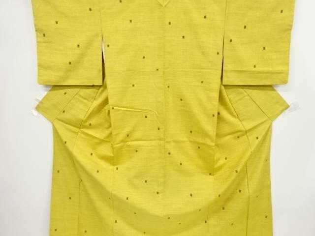 【IDnet】 枡模様織出手織り節紬着物【リサイクル】【中古】【着】