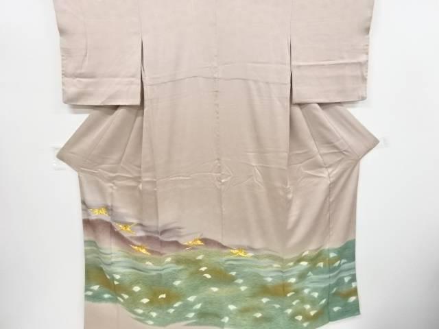 【IDnet】 遠山に芒群鶴模様刺繍三つ紋色留袖(比翼付き)【リサイクル】【中古】【着】