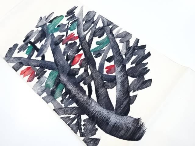 【IDnet】 手織り紬木立模様織り出し袋帯【リサイクル】【中古】【着】