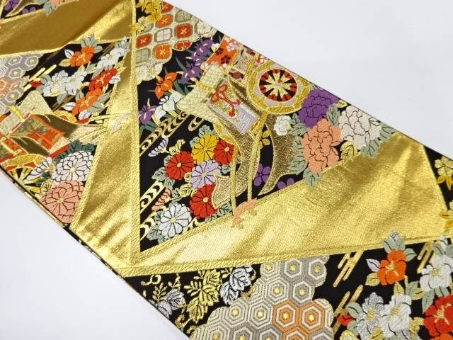 【IDnet】 純金箔御所車に草花・古典柄模様織出し袋帯【リサイクル】【中古】【着】