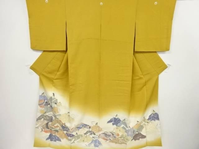 【IDnet】 寿光織平安人物模様織り出し三つ紋色留袖(比翼付き)【リサイクル】【中古】【着】