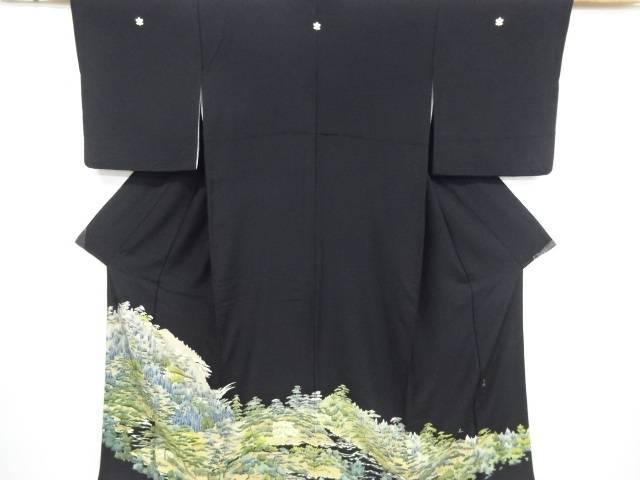 【IDnet】 作家物 手描き友禅森林に屋敷模様留袖(比翼付き)【リサイクル】【中古】【着】