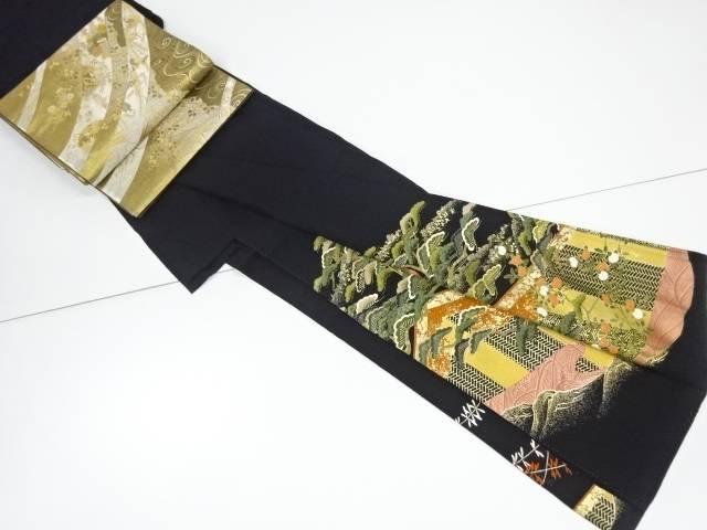 【IDnet】 金彩御所車に幕・橘模様刺繍留袖 袋帯セット【リサイクル】【中古】【着】