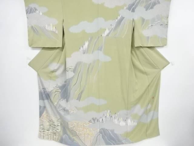【IDnet】 未使用品 作家物 手描友禅遠山に雲・樹木模様訪問着【リサイクル】【着】