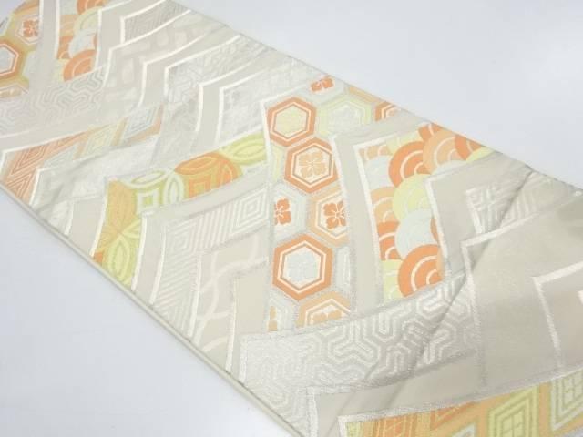 【IDnet】 川島織物製 抽象波に古典柄模様織出し袋帯【リサイクル】【中古】【着】