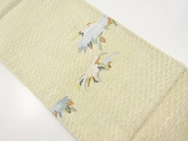 【IDnet】 すくい織鶴模様織り出し袋帯【リサイクル】【中古】【着】