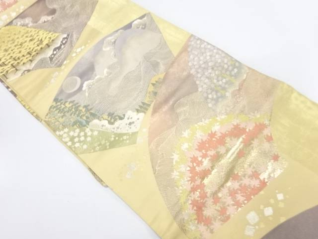 【IDnet】 地紙に波・風景模様織出し袋帯【リサイクル】【中古】【着】