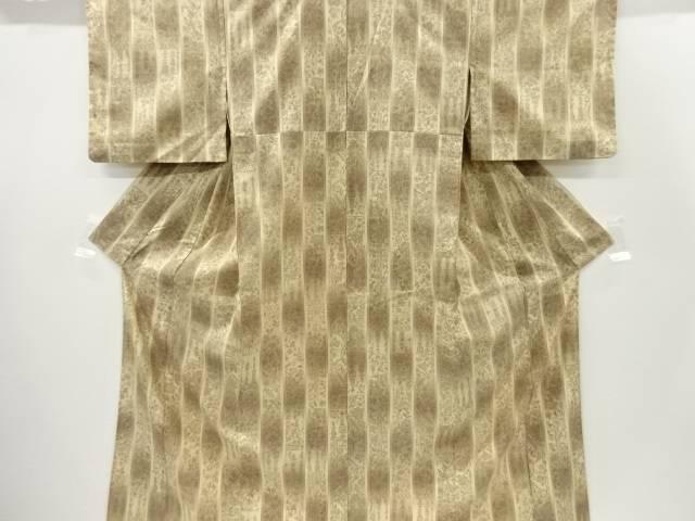 【IDnet】 縞に花更紗模様織出手織り真綿紬単衣着物【リサイクル】【中古】【着】