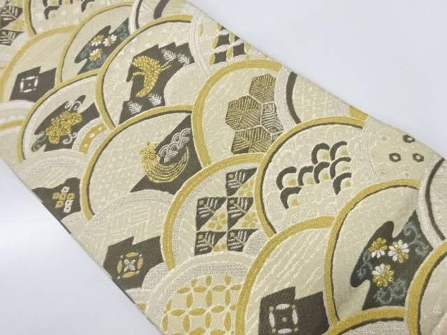 【IDnet】 モール青海波に鶴亀・古典柄模様織出し袋帯【リサイクル】【中古】【着】