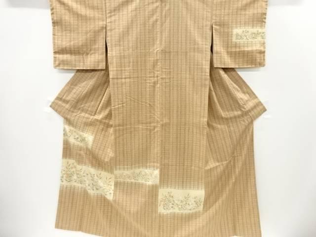 【IDnet】 未使用品 仕立て上がり 横段に草花模様手織り真綿紬訪問着【着】