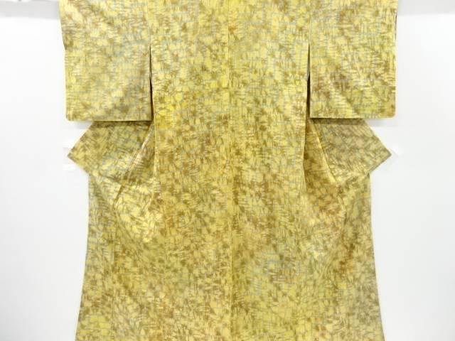 【IDnet】 菅原漢方染め絞り幾何学模様手織り節紬着物【リサイクル】【中古】【着】