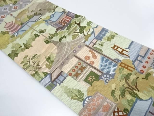 【IDnet】 総刺繍樹木に寺院・山鉾風景模様全通袋帯【リサイクル】【中古】【着】