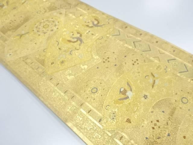 【IDnet】 地紙に鳳凰・華紋模様織出し袋帯【リサイクル】【中古】【着】