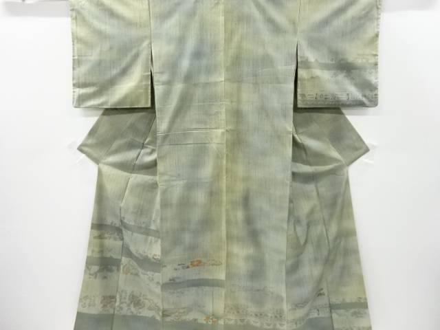 【IDnet】 横段に草花模様織出手織り縦節紬訪問着【リサイクル】【中古】【着】