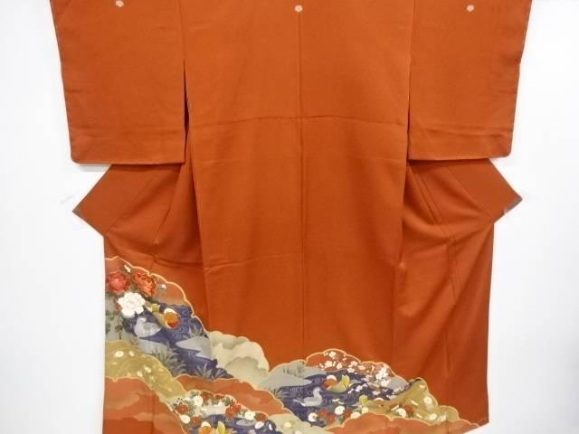 【IDnet】 未使用品 雪輪取りに鴛鴦・花模様刺繍三つ紋色留袖(比翼付き)【リサイクル】【着】