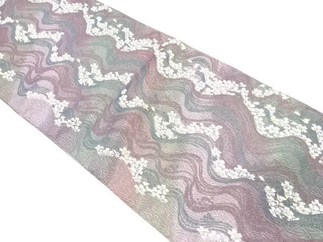 【IDnet】 荒波に桜模様織出し暈し袋帯【リサイクル】【中古】【着】